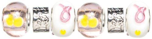 Cousin Trinkettes 6-Piece Glass/Metal Bead, Pink/Yellow Rib ()