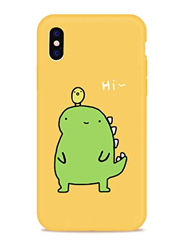 Cute Dinosaur Pattern Design Printed Case for iPhone 7/iPhone 8, MAYCARI Animal Series Soft Full Protective Slim Yellow Rubber Drop Protection for Girls Women