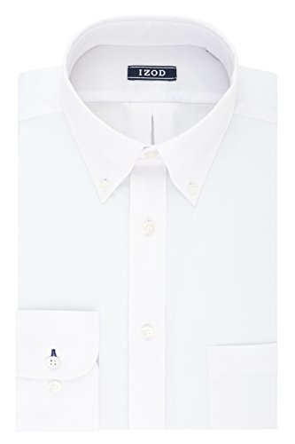 IZOD Men's Regular Fit Stretch Solid Buttondown Collar Dress Shirt, White, 18