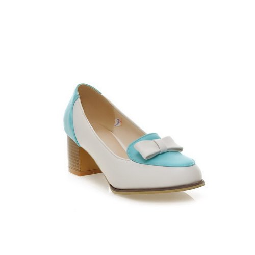 VogueZone009 Womens Closed Round Toe Mid Heel Soft Material PU Pumps whith Assorted Colors and Bowknot Blue o8zom