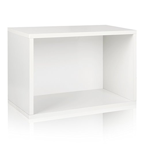 [Way Basics Eco Stackable Large Rectangle Shelf and Storage Organizer, White (made from sustainable non toxic zBoard paperboard)] (Way Basics Cube)
