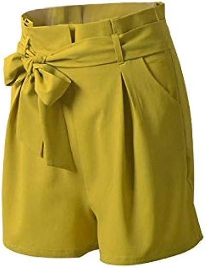 TOPKEAL Casuales Pantalones Cortos de Cintura Alta con Correa Nudo ...