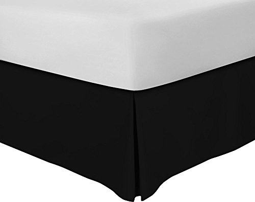 Utopia Bedding Bed Skirt Hotel Quality (15 Inch Fall), Iron Easy, Quadruple Pleated, Wrinkle and Fade Resistant - (King, Black) (King Bedskirt Bedding)