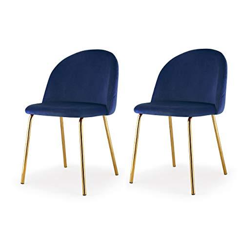 M60 Modern Velvet Chair- Set of 2 Piece Velvet Upholstery Gold Frame Chair Set- Steel Base Side Chair- Elegant and Comfortable Design - Ideal for Dining Room- Multiple Colors Available (Navy Blue)