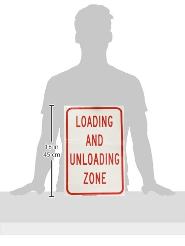 Red on White LegendLoading and Unloading Zone 18 Height 12 Width Brady 129590 Traffic Control Sign LegendLoading and Unloading Zone 12 Width 18 Height
