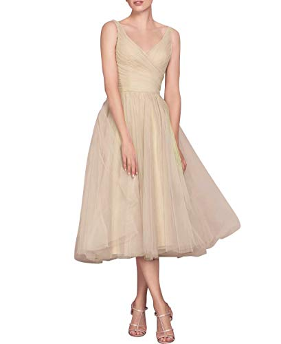 - NaXY Vintage V Neck Short Sleeves Tea Length Bridesmaid Dress Long Evening Formal Tulle Women Dresses 2018 Nude Size 18w