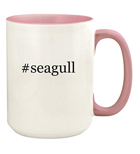 #seagull - 15oz Hashtag Ceramic Colored Handle and Inside Coffee Mug Cup, Pink