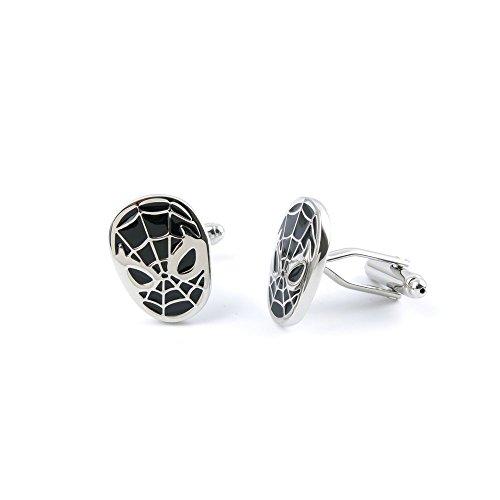 2 Pairs Cufflinks Cuff Links NLSH0 Black Spider Man Mask Fashion Jewelry Gift Wedding Party Shirt Mens Button Classic