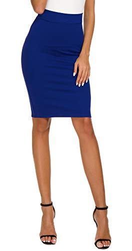 Women's High Waist Bodycon Midi Pencil Skirt (S, Royal Blue)