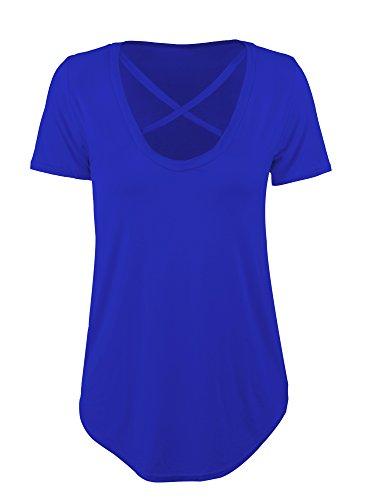 Hestya T-shirt Cross Front T-shirts V-neck Short Sleeve Tee Tops Womens Casual Loose Tops (Large, Royal Blue)
