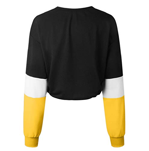 Sport À Pour Longues Haut shirts Manches Femmes Sweat Jaune Casual Tops Splicing Couleur 56q8HawO