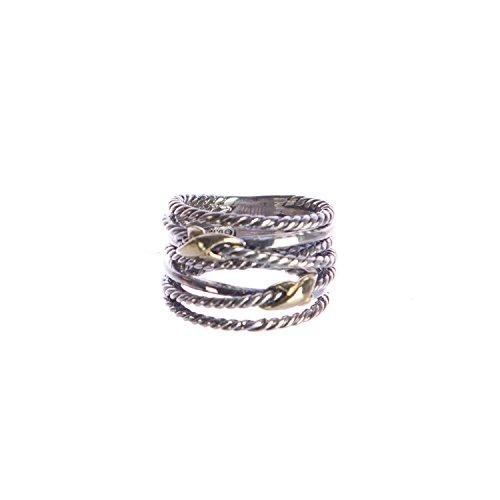 David Yurman Gold Ring (DAVID YURMAN Women's Double X Crossover Ring with Gold 9-14mm Sz 7)