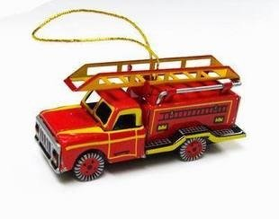 tin toys new collector wind up metal classic firefighter truck red yellow toy hanger