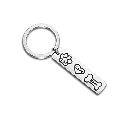 bobauna Live Bones Love Heart Bark Animal Dog Paws Keychain Dog Lover Rescue Jewelry Dog Owner Gift (Live Love bark Keychain) -