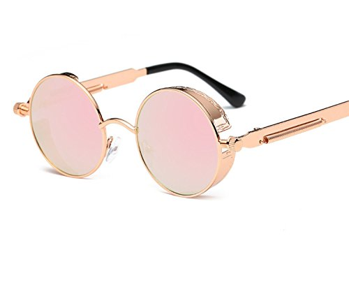retro round frame sunglasses Ladies trend sunglasses Colorful spring mirror legs trend sunglasses (Charles Round Mirror)