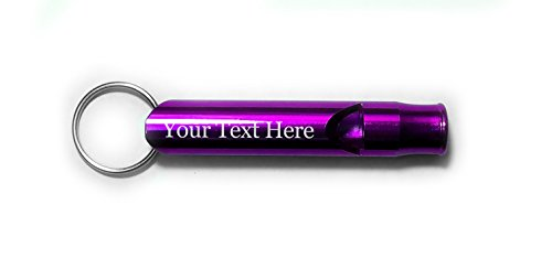 Customized 3D Laser Engraved Personalized Custom Whistle Key Chain Gift (Purple)