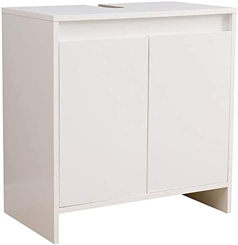 Vanity Unit for Bathroom 58 (L) x33x60 Kitchen Sink Cabinet in Wood with 2 White Doors Excellent Internal Capacity