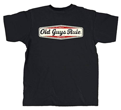 Old Guys Rule Mens Aged Perfection Short Sleeve T-Shirt-Black-XXXL
