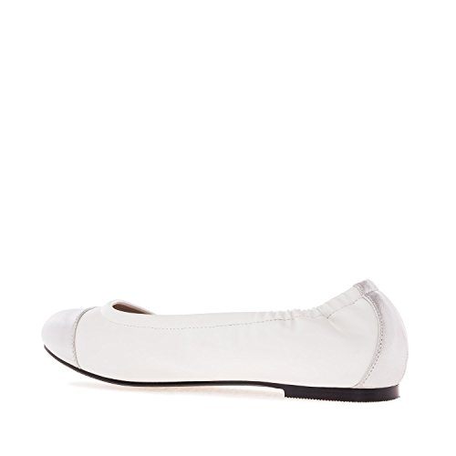 Andres Machado AM5147.Elastic Ballet Flats in Faux Leather.Large Sizes: UK 8 to 10.5/EU 42 to 45. White Faux Leather MOfvFOn6