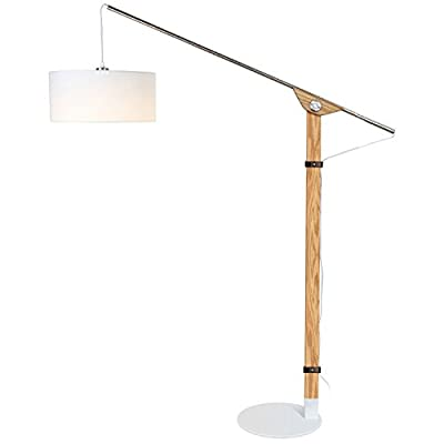 Brightech Eithan LED Floor Lamp – Modern Contemporary Elevated Crane Arc Floor Lamp & Linen Hanging Lamp Shade- Tall, Industrial - Uplight Lamp for Living Room Office or Bedroom Natural Wood -  - living-room-decor, living-room, floor-lamps - 31ivMtjJgQL. SS400  -