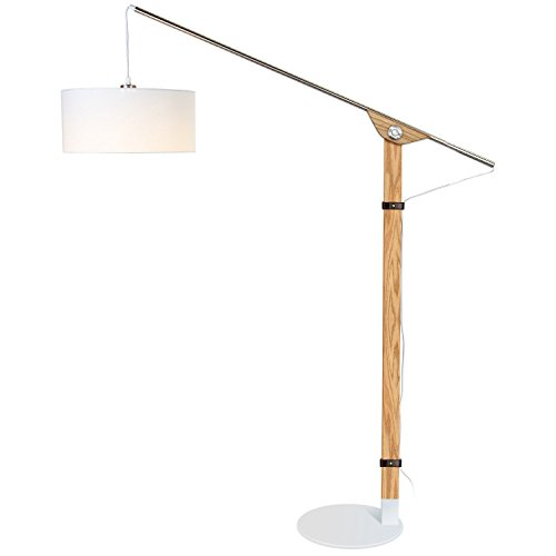 Brightech Eithan LED Floor Lamp – Modern Contemporary Elevated Crane Arc Floor Lamp & Linen Hanging Lamp Shade- Tall, Industrial, Adjustable Uplight Lamp for Living Room Office or Bedroom Natural Wood