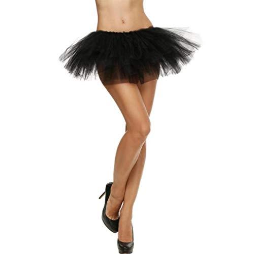 Sixcup Tutu Femme Ballet en Tulle Jupe Courte Mini Pettiskirt D'lastique Mini Multicouche Noir