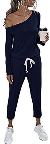 Women Casual Long Sleeve Tie Waist Drawstring Off Shoulder Loose Long Romper Lounge Wear Jumpsuits