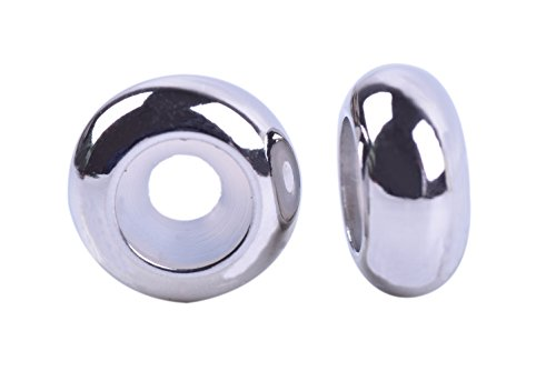 KONMAY 20pcs 304L Stainless Steel Rubber Stopper Spacer Beads for Charms Bracelet ()