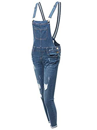 Made by Emma Casual Stylish Skinny Denim Single Chest Pocket Bib Strap Ripped Overall S