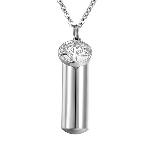 HooAMI Tree of Life Charm Memorial Urn Necklace Stainless Steel Cremation ()