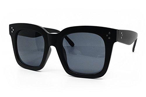 O2 Eyewear 1762 Premium Oversize XXL Women Men Mirror Revo Havana Tilda Shadow Style Fashion Sunglasses (MATTE BLACK, 56)