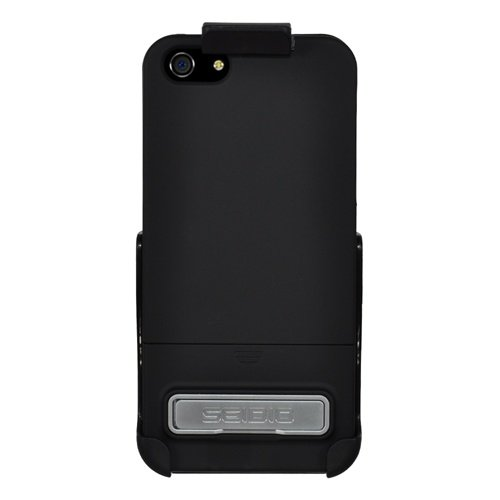 Seidio-BD2-HR3IPH5K-BK-Surface-Case-with-Metal-Kickstand-and-Holster-Combo-for-Apple-iPhone-5-Retail-Packaging-Black