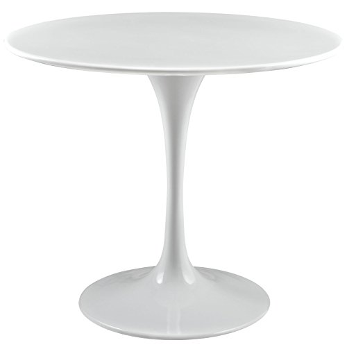 "Modway Lippa 36"" Mid-Century Modern Kitchen and Dining Table with Round Top and Pedestal Base in White"