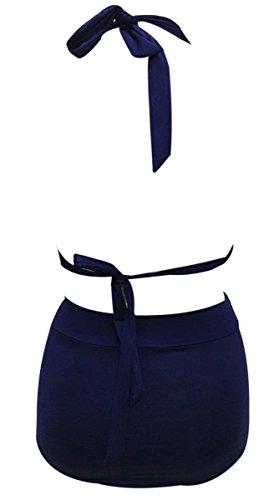 FEOYA - Bañadores Bikini para Mujer Traje de Baño Retro Vintage de 2 Piezas Top Correa Ajustable Elástica Cintura Alta para Playa - Blanco Rojo Negro Azul Rosa - Talla asiática M L XL XXL Azul marino