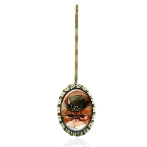 Epingle à cheveux au cabochon vintage au chat steampunk de l'époque victorienne