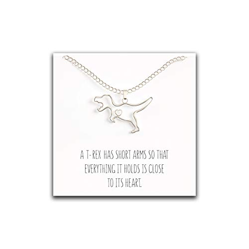 Cute Dinosaur - Happy Kisses Dinosaur T-Rex Necklace - Cute Pendant Gift - Sweet and Funny Message Card (Silver)