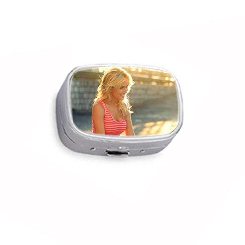 Luisana Lopilato Smiling Custom Unique Silver Round Pill Box Medicine Tablet Organizer Or Coin Purse