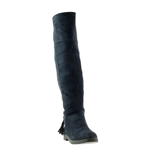 Cavalier Pour Frange Femmes Mode Cm Motard String Talon Bottes Chaussures Bleu Tressé Bloc Angkorly 3 vXStR