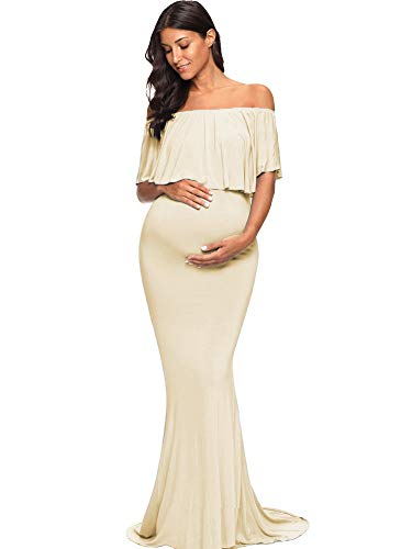 Love2Mi Womens Maternity Off Shoulder Ruffles Dress Mama Photography Slim Fitted Gown Maxi