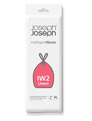 (Joseph Joseph 30007 Intelligent IW2 Bin Liners Custom Fit Bags for Food Waste Caddy 1 Gallon / 4 Liter 100% Compostable, Pack of 50 Clear)