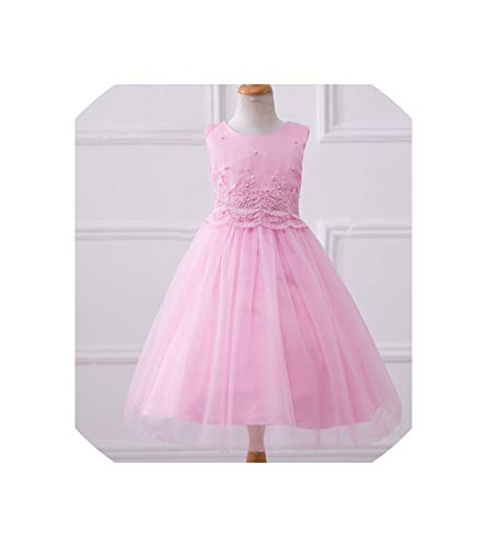 (Baby Girl Summer Clothes Girls Evening Dresses with Pearls Sleeveless Pure Colors Festival Show Host 2-11T Summer Style Sweet A,Pink,7T)
