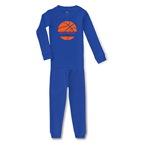 Personalized Custom Basketball Player Sport Cotton Crewneck Boys-Girls Infant Long Sleeve Sleepwear Pajama 2 Pcs Set Top and Pant - Royal Blue, 4T -