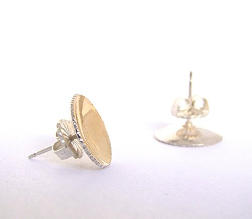 22 Karat and Sterling Silver Zen Pod BiMetal Stud Earrings