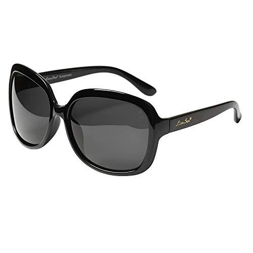 (LianSan Oversized Womens Sunglasses Polarized uv Protection Simple Sunglasses LSP301 (polarized black))