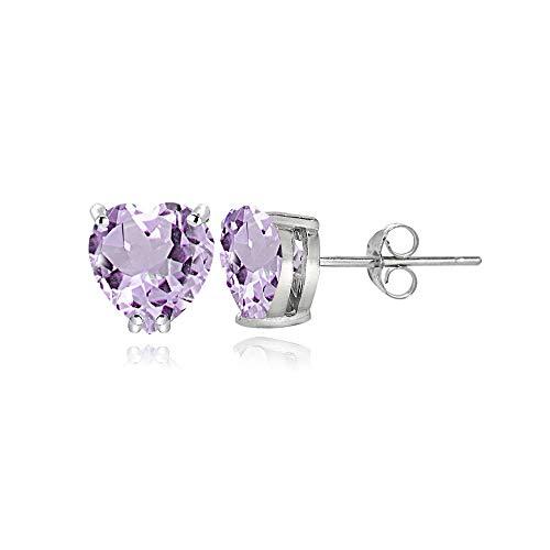 Sterling Silver Amethyst 5mm Heart Stud Earrings