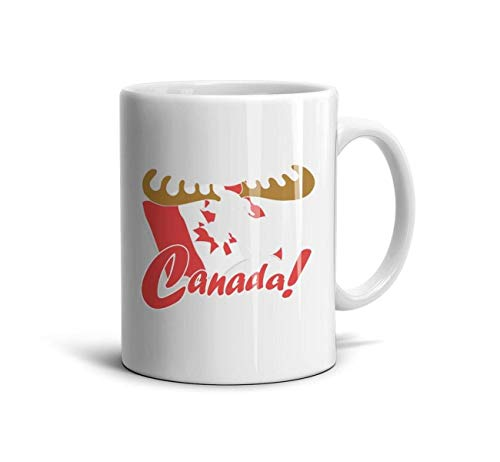 DNSIFH55 White Ceramic Mugs Canada Flag Moose Daily Use 11 oz Coffee Cup Used to Hold Latte Cappuccino Tea Coffee Water Drinks Milk for Girlfriend
