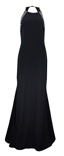 Betsy & Adam Women's Beaded-Trim Halter Jersey Gown (8, Black/Silver)