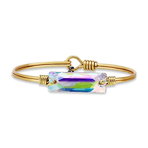 Luca + Danni | Hudson Bangle Bracelet for Women in Crystal AB - Brass Tone Size Regular Made in USA