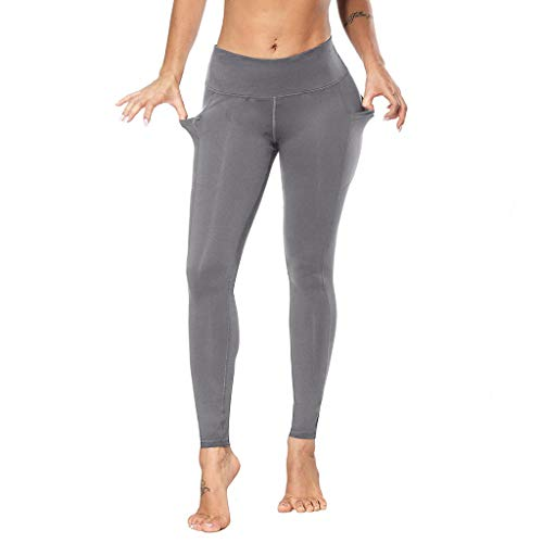 Womens High Waist Yoga Pants, Pocket Yoga Pants Tummy Control Workout Running 4 Way Stretch Yoga Leggings Pants