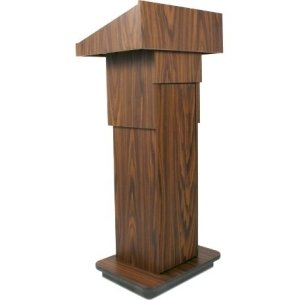 AmpliVox SW505A - Wireless Executive Adjustable Column Lectern - 4534; Height - Wood - SW505A-WT